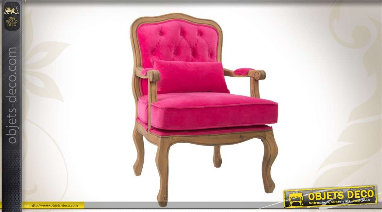 fauteuil de salon ancien bois et velours capitonne magenta