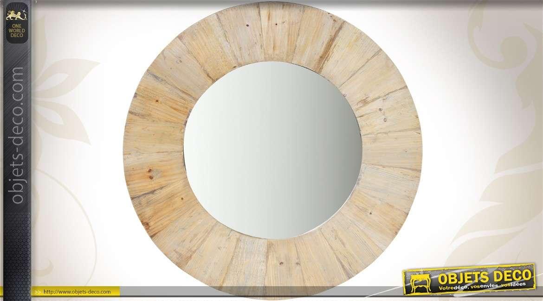 grand miroir rond rustique bois ancien et massif o 100 cm