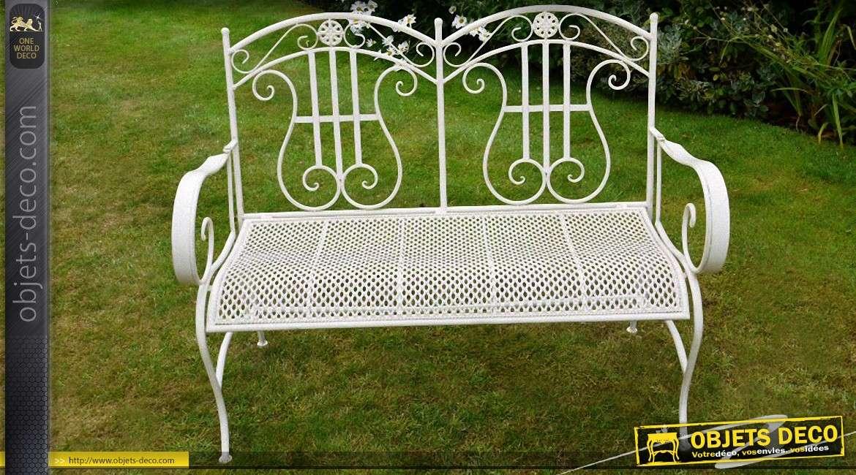 banc de jardin blanc en metal et fer forge de style romantique