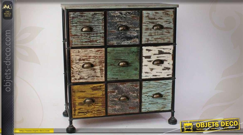 meuble de rangement a 9 tiroirs bois et metal style retro indus