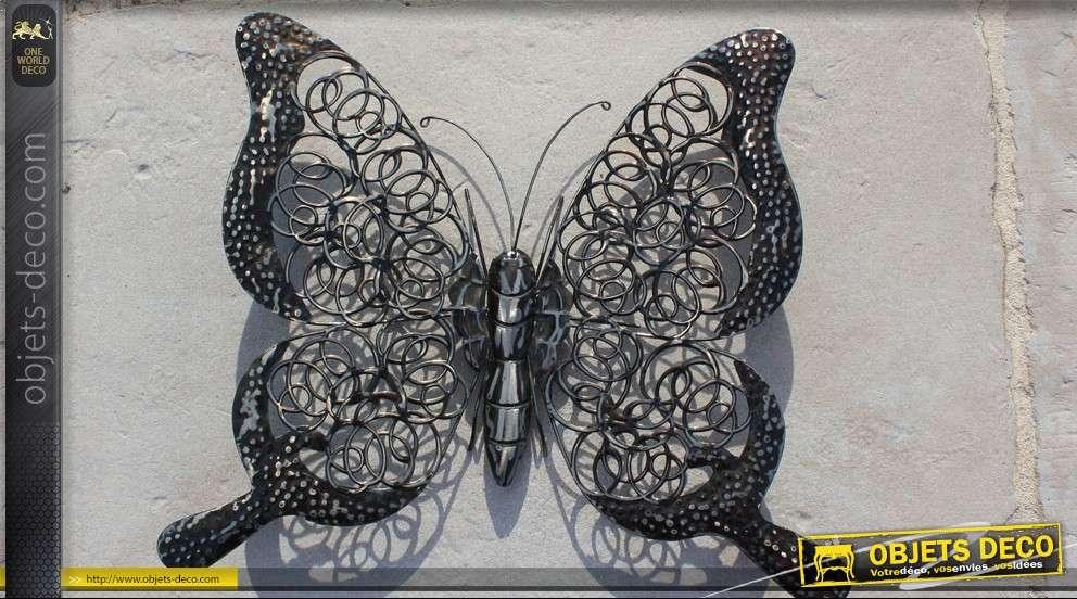 papillon decoratif mural en metal