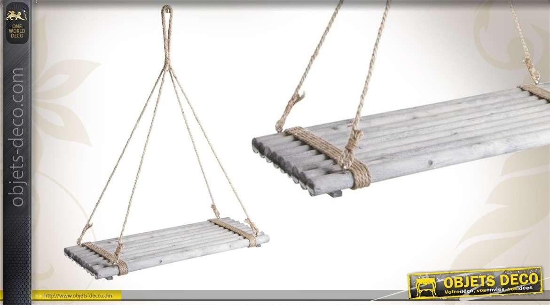 etagere suspendue en bois teinte avec corde