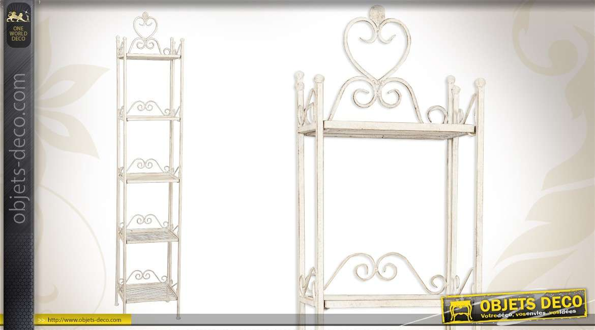 etagere d inspiration fer forge patinee blanc ancien