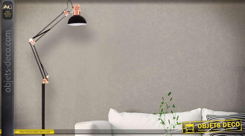 lampadaire flexo 1 92 metre en metal coloris noir et cuivre bras a double articulation