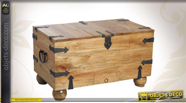 coffre range bouteilles en bois finition ciree