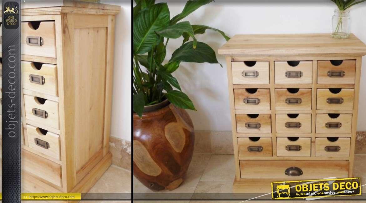 petit meuble industriel a tiroirs finition bois naturel 60 x 50 cm