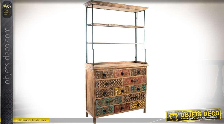 etagere bibliotheque avec meuble bas a tiroirs a facades sculptees et multicolores 198 cm