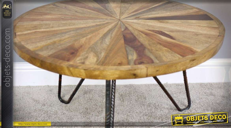 table basse en bois ronde effet rayonnement bois naturel et fer forge o 61 cm