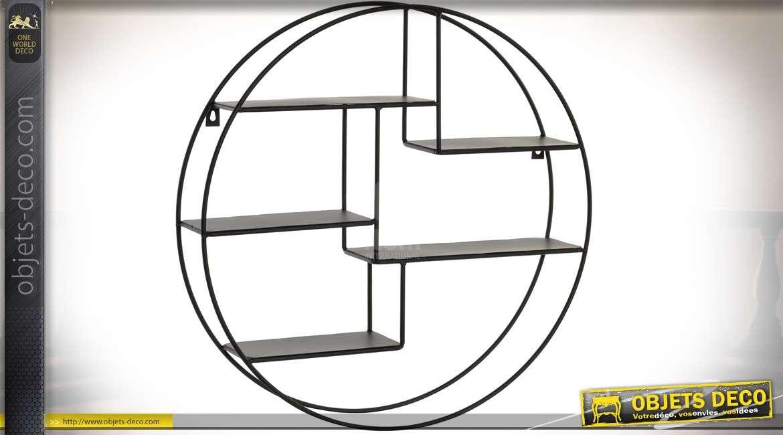 etagere murale circulaire en metal noir avec plateaux asymetriques o 50 cm