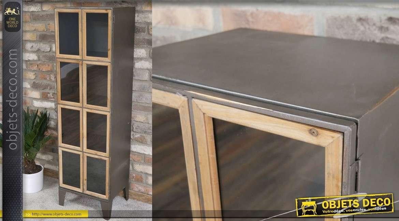 meuble colonne en metal et bois une grande porte 139cm de style industriel