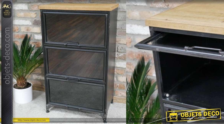 meuble de rangement en metal plateau en bois de sapin et 3 portes vitrees