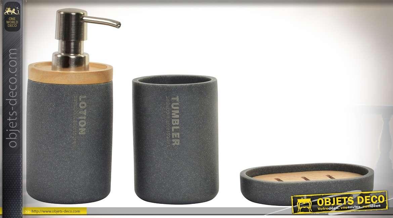 set de 3 accessoires poursalle de bain en bambou et resine coloris gris anthracite