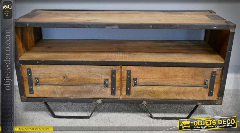 meuble tv de style industriel bois et metal avec deux tiroirs 115 cm