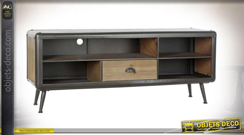 meuble tv en bois de sapin finition brute et en metal anthracite acier de style industriel moderne rivets apparents 140cm