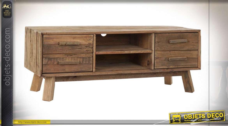 meuble tv bois recycle pin 130x40x48 porte naturel