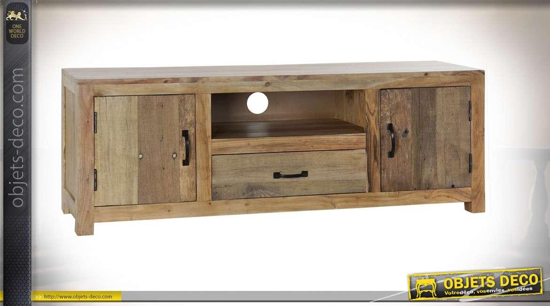 meuble tv bois recycle acacia 140x38x51 naturel