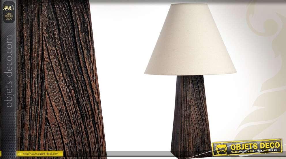 lampe de table avec pied en bois brut teinte