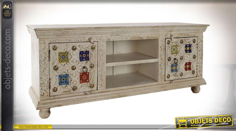 meuble tv en bois de manguier blanc effet vieilli style boho 150cm