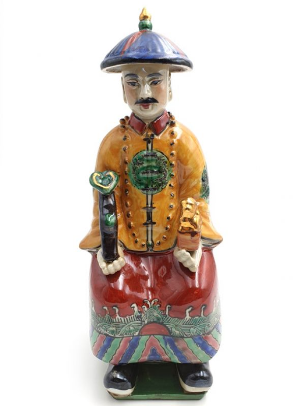Statue Mandarin Chinois Assis Polychrome
