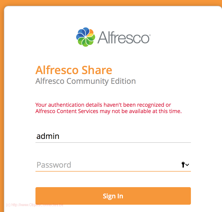 Synology DiskStation Alfresco login error