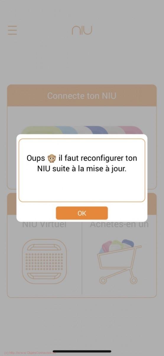 Bouton connecté Niu - Le message d'erreur
