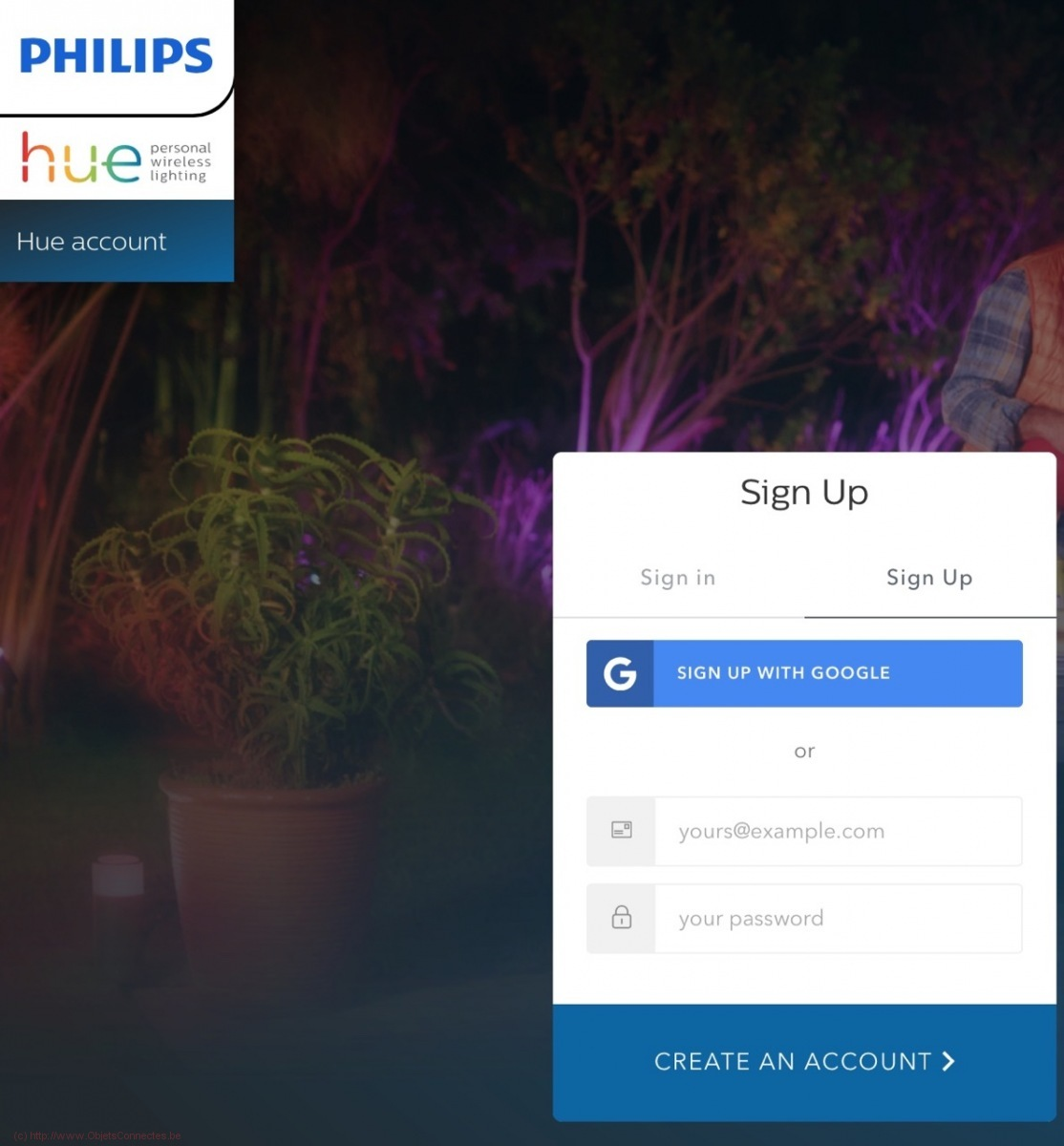 Deux ponts Philips Hue - Signup MeetHue Account