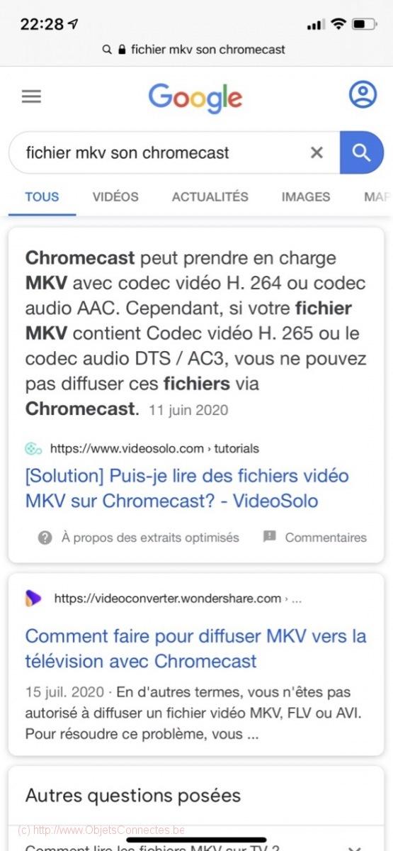Problème casting MKV Google Chromecast