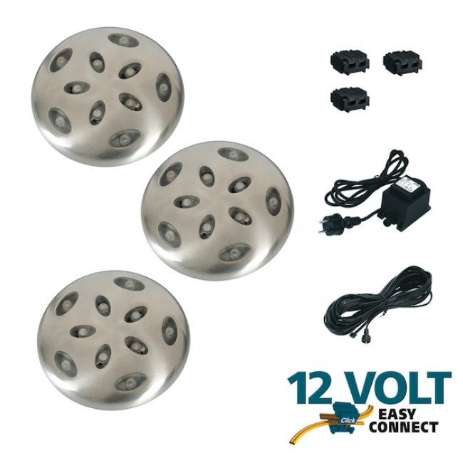 kit de 3 spots exterieurs led encastrables basse tension 12 v thalos easy connect transfo