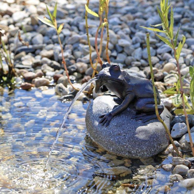 pompe fontaine solaire jet d eau grenouille sur pierre p10