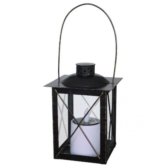 lanterne solaire vintage metal noir led scintillante effet bougie