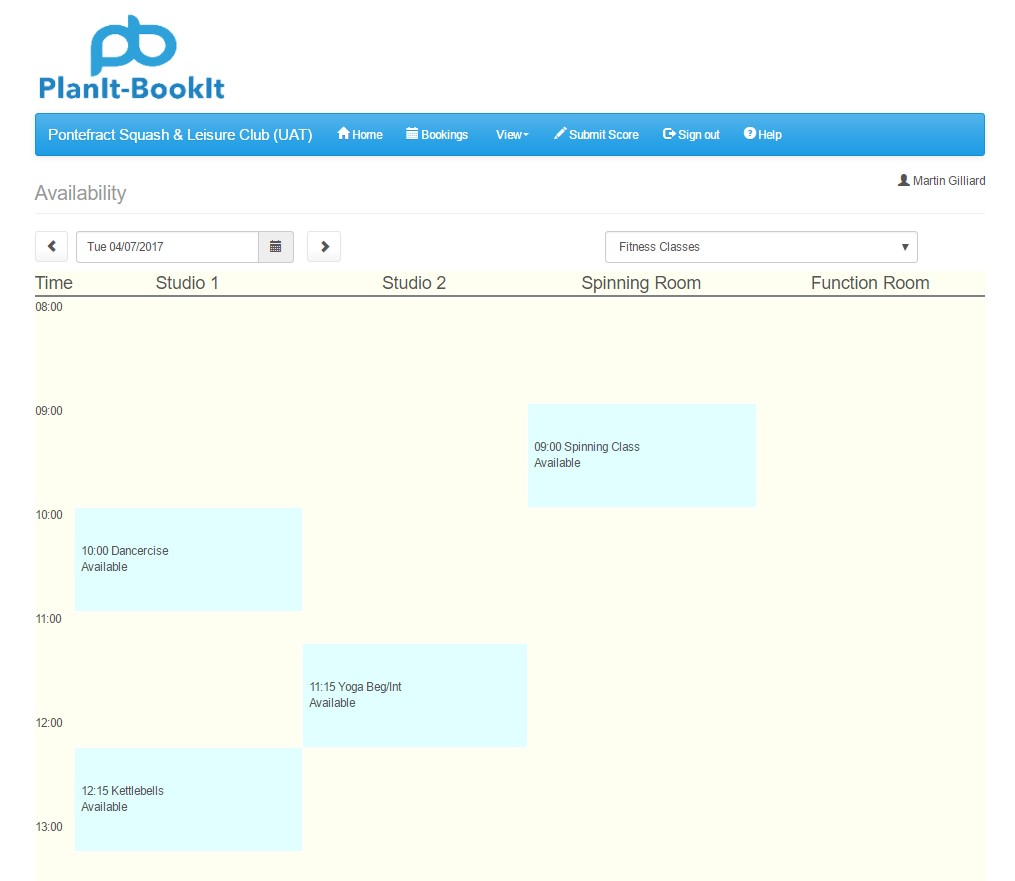 fitness class booking system