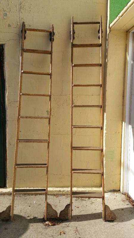 Antique Rolling Library Ladders Obnoxious Antiques