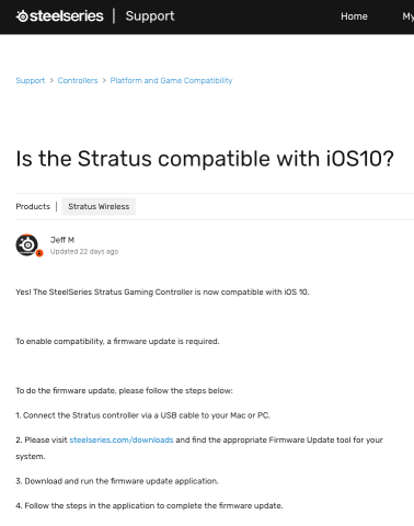 Is the Stratus compatible with iOS10 Support