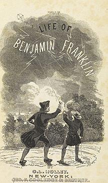 Imagem ilustrando Benjamin Franklim fazendo estudos sobre eletricidade, usando uma pipa (Reuters)