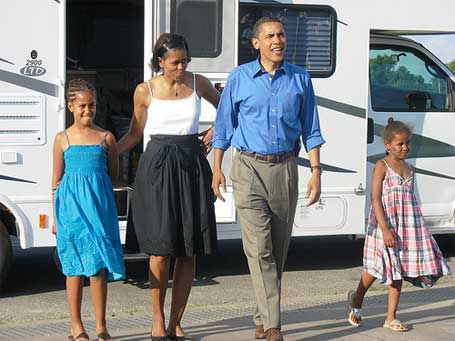 Obama, Michelle, Malia e Sasha