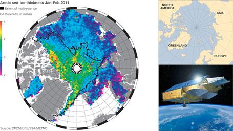 Mapa do derretimento gelo marinho