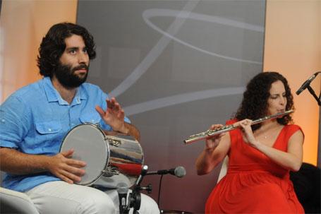 O percussionista Oded Aloni e a flautista Salit Lahav