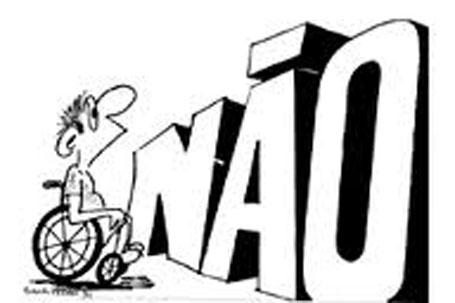 Ilustração jovens deficientes fora da escola