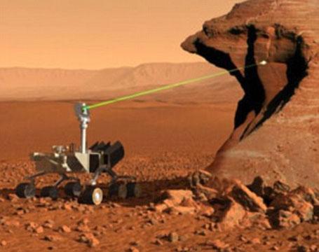 Imagem do fogo provocado pelo Curiosity em Marte com laser