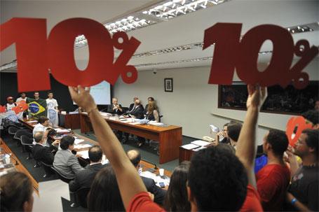 Foto estudantes exigindo 10% do PIB na educação