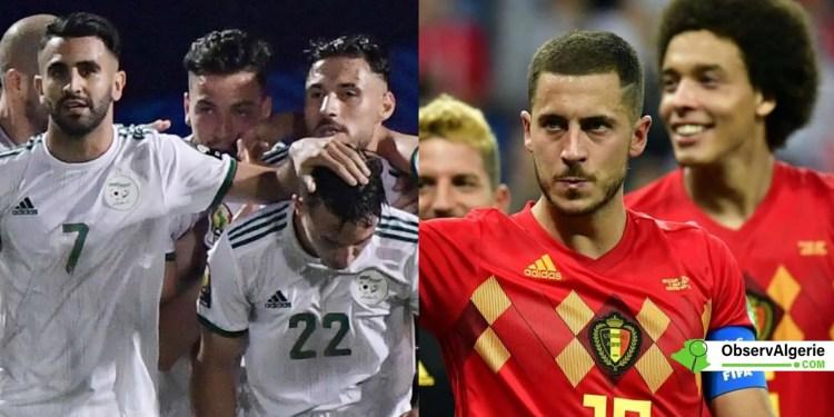 Des joueurs des équipes nationales d'Algérie et de Belgique
