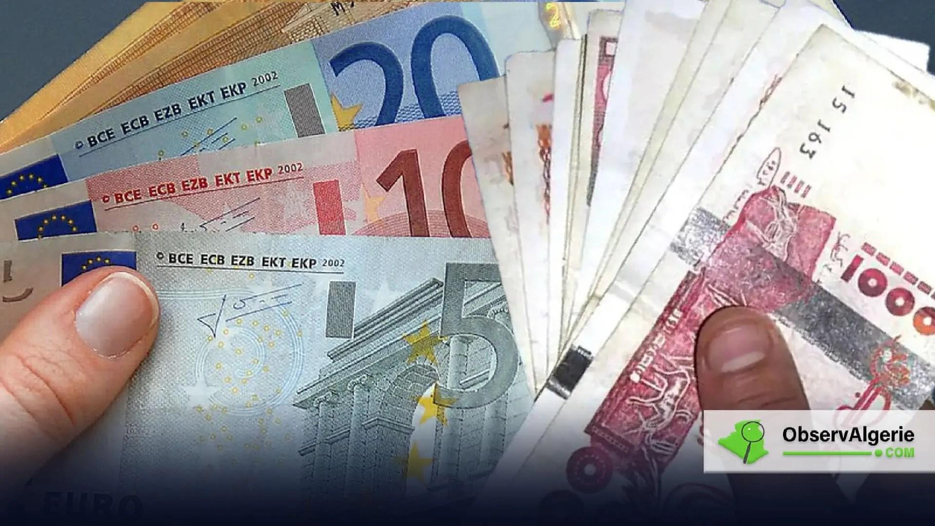 Taux de change de l'euro face au dinar algérien du jeudi 15 avril