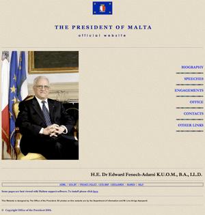 la page d'accueil du site du président maltais