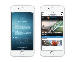 Aperçu de l'écran de verrouillage et du navigateur in-app