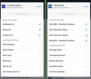 Aperçu des options disponibles pour Bloomberg Business et CBS Sports