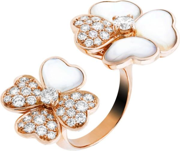 VCARO55100_Between the Finger Ring Cosmos, pink gold, white mother-of-pearl diamonds, diamond center_520996