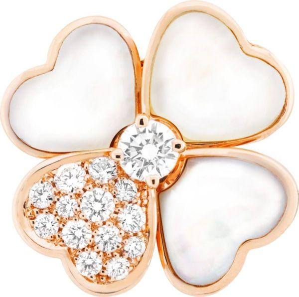VCARO5BV00_Cosmos medium model clip pendant, pink gold, white mother-of-pearl, diamonds, diamond center_520991