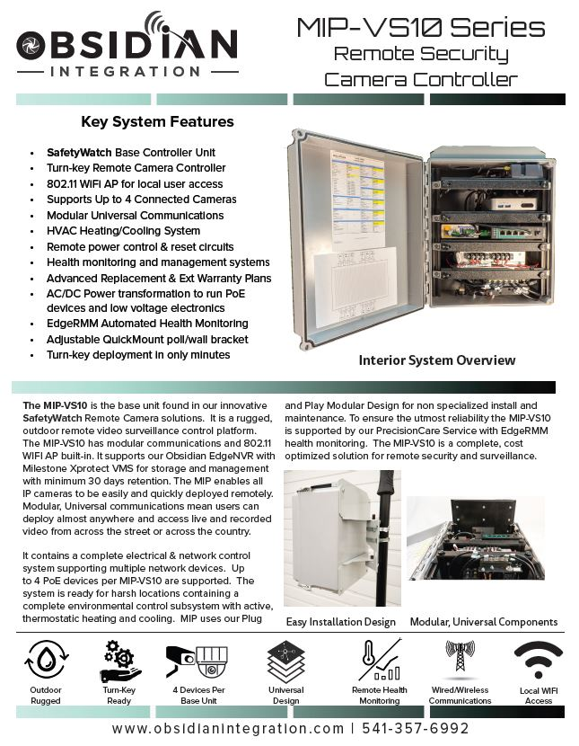 Outdoor Video Security Controller Datasheet