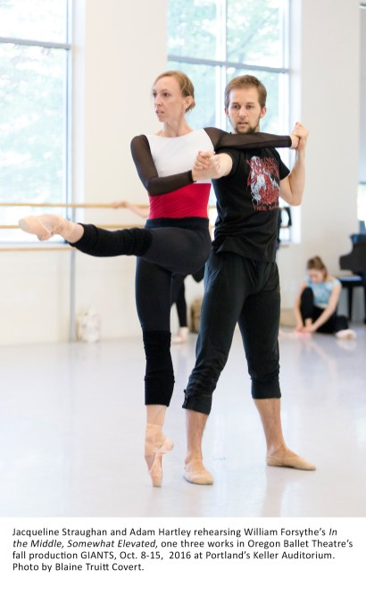 Jacqueline Straughan and Adam Hartley rehearsing William Forsythe's In the Middle, Somewhat Elevated, one three works in Oregon Ballet Theatre's fall production GIANTS, Oct. 8-15, 2016 at Portland's Keller Auditorium. Photo by Blaine Truitt Covert.