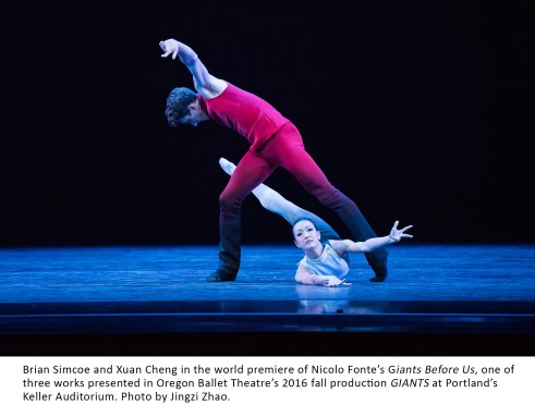 Brian Simcoe and Xuan Cheng in the world premiere of Nicolo Fonte's Giants Before Us, one of three works presented in Oregon Ballet Theatre's 2016 fall production GIANTS at Portland's Keller Auditorium. Photo by Jingzi Zhao.